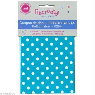 Tissu Thermocollant - Pois Bleu Turquoise et Blanc - A4