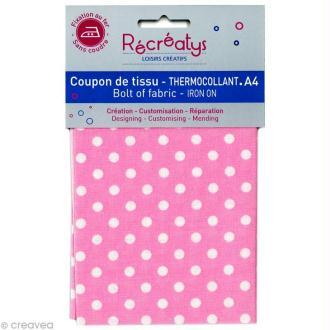 Tissu Thermocollant - Pois Rose bonbon et Blanc - A4