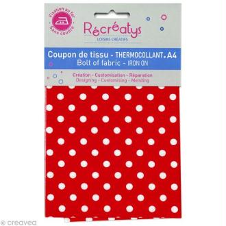 Tissu Thermocollant - Pois Rouge et Blanc - A4
