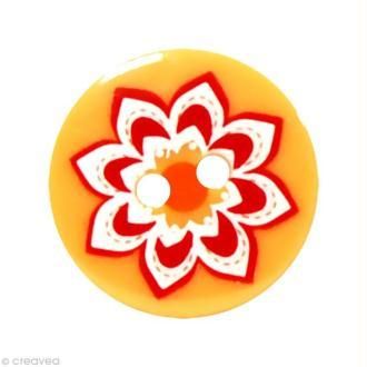 Bouton Fantaisie 1,8 cm - Orange Grosse fleur