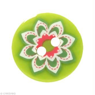 Bouton Fantaisie 1,8 cm - Vert clair Grosse fleur