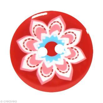 Bouton Fantaisie 2,5 cm - Rouge Grosse fleur