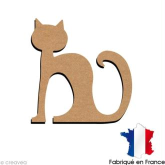 Chat assis en bois 15 cm
