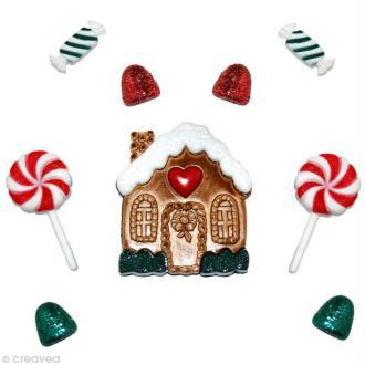 Bouton décoratif Noël - Maison de pain d'épices x 9