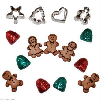 Bouton décoratif Noël - Famille pain d'épices x 15