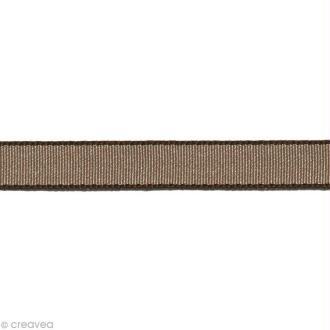 Ruban gros grain - Bordure Marron taupe 10 mm - Au mètre (sur mesure)