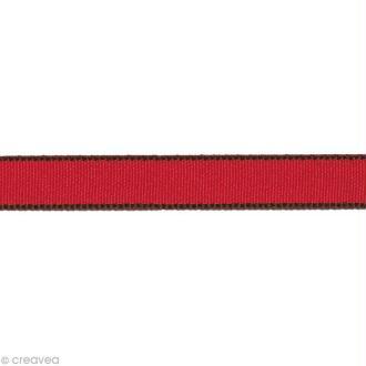 Ruban gros grain - Bordure Rouge 10 mm - Au mètre (sur mesure)