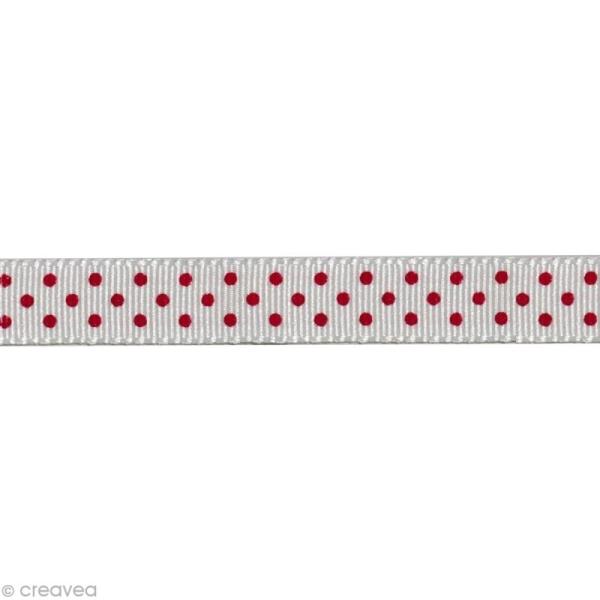 Ruban gros grain - Pois Blanc et Rouge 10 mm - Au mètre (sur mesure) - Photo n°1