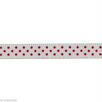 Ruban gros grain - Pois Blanc et Rouge 10 mm - Au mètre (sur mesure)