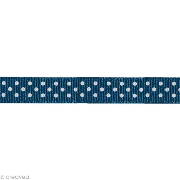 Ruban gros grain - Pois Bleu foncé et Blanc 10 mm - Au mètre (sur mesure) - Photo n°1