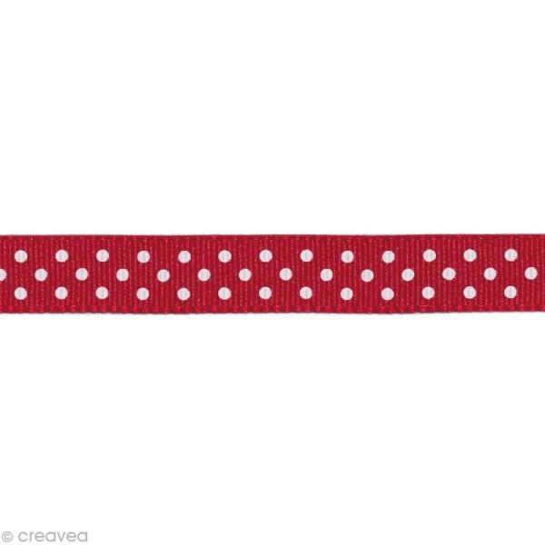 Ruban gros grain - Pois Rouge foncé et Blanc 10 mm - Au mètre (sur mesure) - Photo n°1