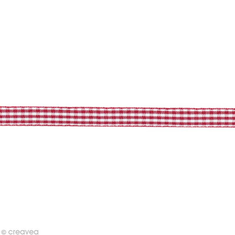 ruban fantaisie vichy rouge et blanc 6 mm au m tre sur mesure ruban vichy creavea. Black Bedroom Furniture Sets. Home Design Ideas
