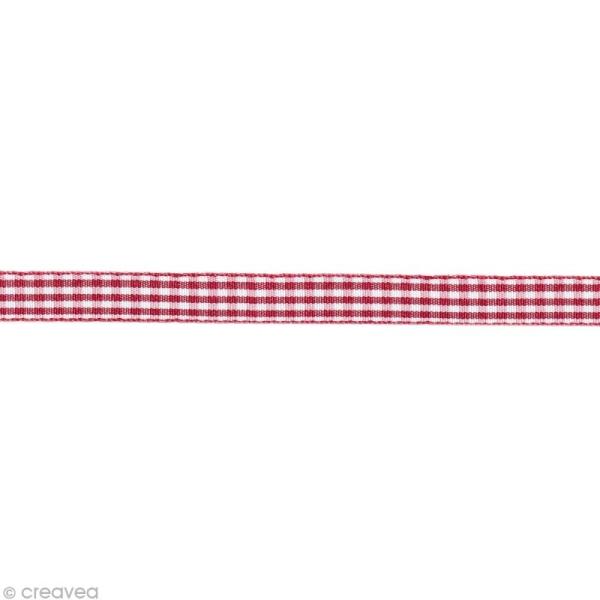 Ruban fantaisie - Vichy Rouge et Blanc 6 mm - Au mètre (sur mesure) - Photo n°1