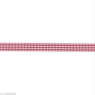 Ruban fantaisie - Vichy Rouge et Blanc 6 mm - Au mètre (sur mesure)