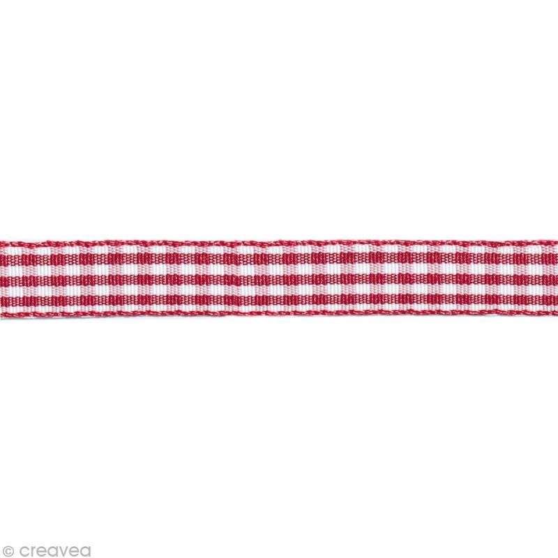 ruban fantaisie vichy rouge et blanc 10 mm au m tre sur mesure ruban vichy creavea. Black Bedroom Furniture Sets. Home Design Ideas