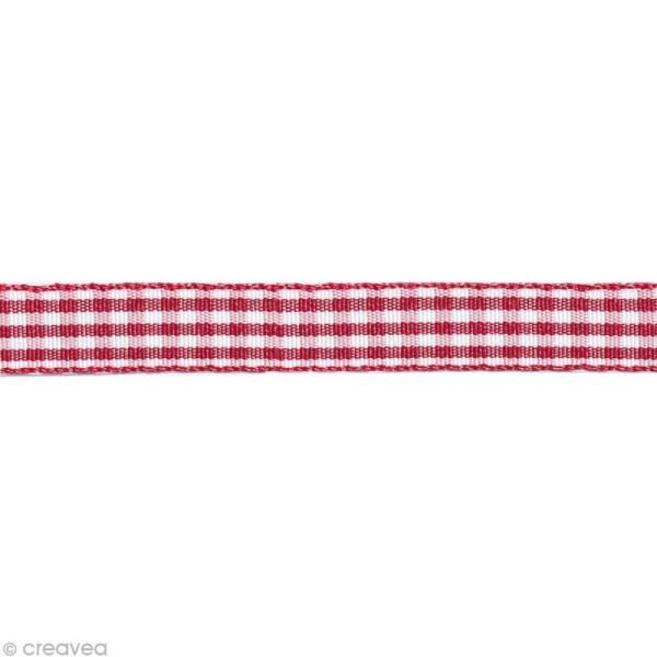 Ruban fantaisie - Vichy Rouge et Blanc 10 mm - Au mètre (sur mesure) - Photo n°1