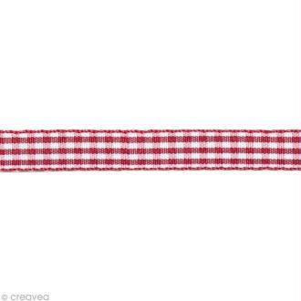 Ruban fantaisie - Vichy Rouge et Blanc 10 mm - Au mètre (sur mesure)