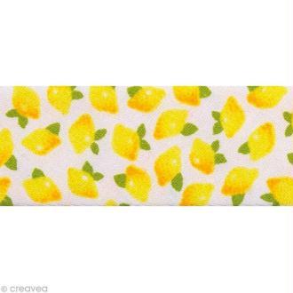 Biais fantaisie Fruité - Citrons Jaune 20 mm - Au mètre (sur mesure)