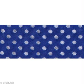 Biais Pois 20 mm Bleu foncé et Blanc - Au mètre (sur mesure)