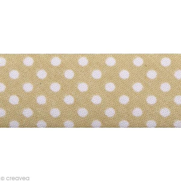 Biais Pois 20 mm Beige et Blanc - Au mètre (sur mesure) - Photo n°1