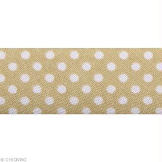 Biais Pois 20 mm Beige et Blanc - Au mètre (sur mesure)