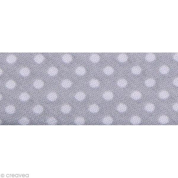 Biais Pois 20 mm Gris et Blanc - Au mètre (sur mesure) - Photo n°1