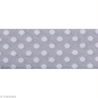 Biais Pois 20 mm Gris et Blanc - Au mètre (sur mesure)