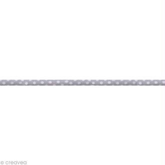 Ruban Spaghetti - Pois Gris et Blanc 7 mm - Au mètre (sur mesure)