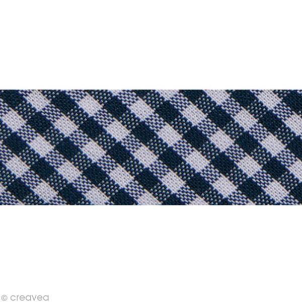 Biais Fantaisie Vichy - 20 mm Bleu marine et Blanc - Au mètre (sur mesure) - Photo n°1