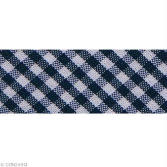 Biais Fantaisie Vichy - 20 mm Bleu marine et Blanc - Au mètre (sur mesure)