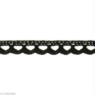 Dentelle coton fantaisie 0,7 cm - Noir au mètre (sur mesure)