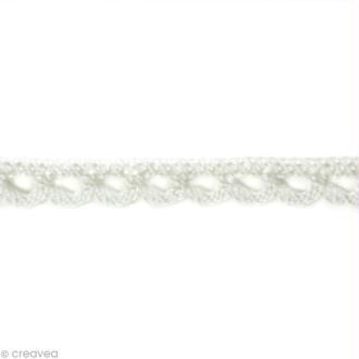 Dentelle coton fantaisie 0,7 cm - Blanc au mètre (sur mesure)