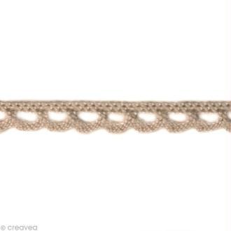 Dentelle coton fantaisie 0,7 cm - Taupe au mètre (sur mesure)