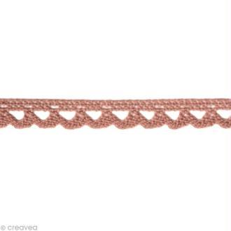 Dentelle coton fantaisie 0,7 cm - Rose ancien au mètre (sur mesure)