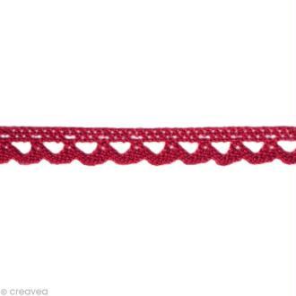 Dentelle coton fantaisie 0,7 cm - Rouge bordeaux au mètre (sur mesure)