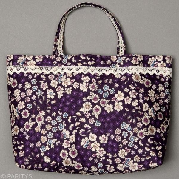 Dentelle coton fantaisie 0,7 cm - Violet lilas au mètre (sur mesure) - Photo n°2