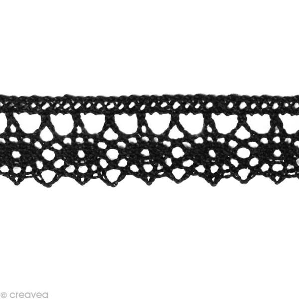 Dentelle coton fantaisie 1,3 cm - Noir au mètre (sur mesure) - Photo n°1