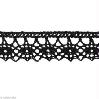 Dentelle coton fantaisie 1,3 cm - Noir au mètre (sur mesure)