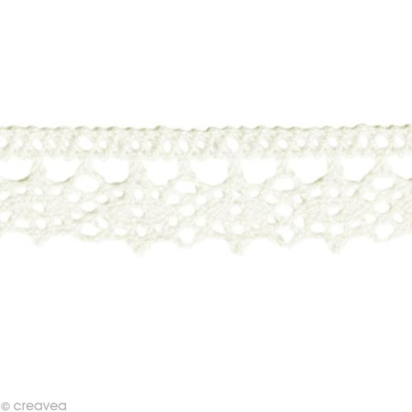 Dentelle coton fantaisie 1,3 cm - Blanc au mètre (sur mesure) - Photo n°1