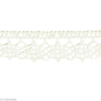 Dentelle coton fantaisie 1,3 cm - Blanc au mètre (sur mesure)