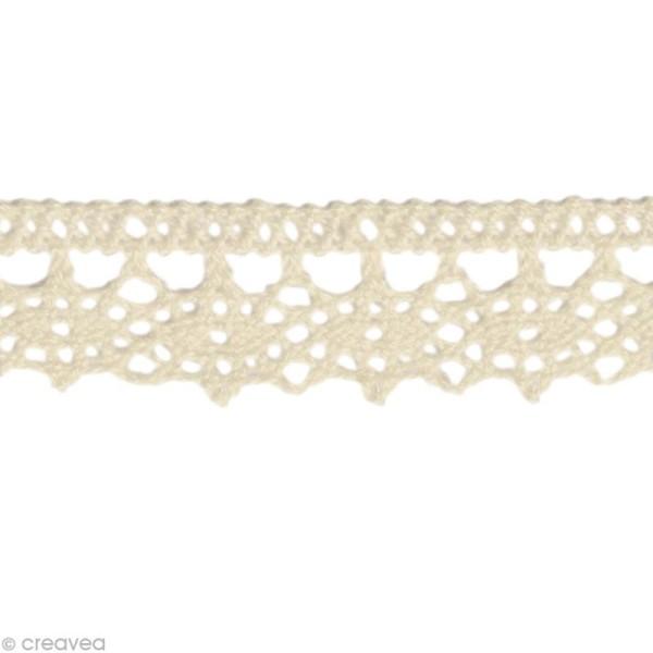 Dentelle coton fantaisie 1,3 cm - Blanc cassé au mètre (sur mesure) - Photo n°1