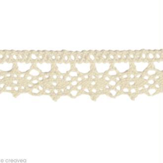 Dentelle coton fantaisie 1,3 cm - Blanc cassé au mètre (sur mesure)