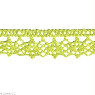Dentelle coton fantaisie 1,3 cm - Vert pomme au mètre (sur mesure)