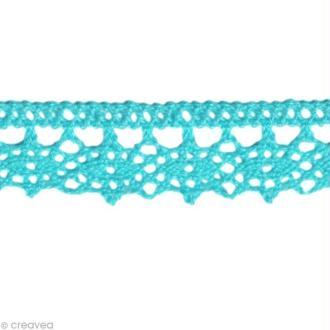 Dentelle coton fantaisie 1,3 cm - Bleu turquoise au mètre (sur mesure)