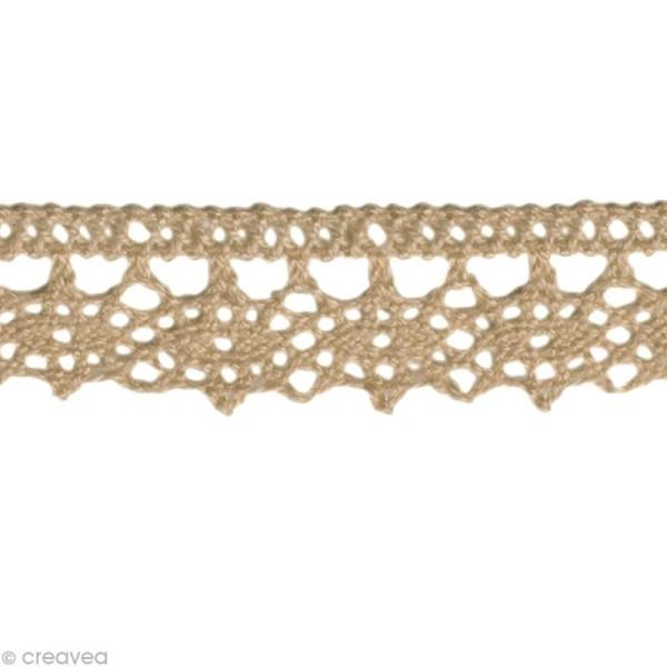 Dentelle coton fantaisie 1,3 cm - Taupe au mètre (sur mesure) - Photo n°1