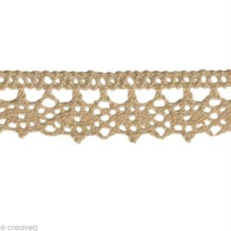 Dentelle coton fantaisie 1,3 cm - Taupe au mètre (sur mesure)