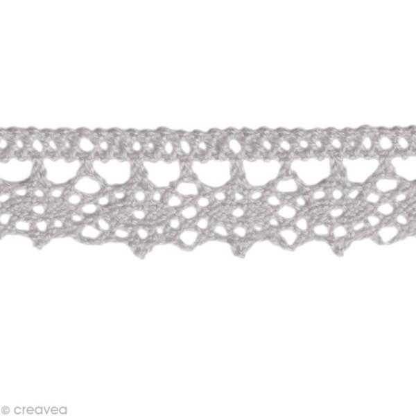 Dentelle coton fantaisie 1,3 cm - Gris au mètre (sur mesure) - Photo n°1