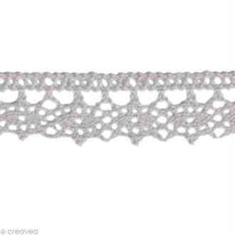 Dentelle coton fantaisie 1,3 cm - Gris au mètre (sur mesure)