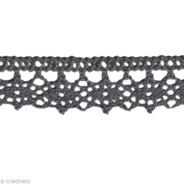 Dentelle coton fantaisie 1,3 cm - Gris anthracite au mètre (sur mesure) - Photo n°1