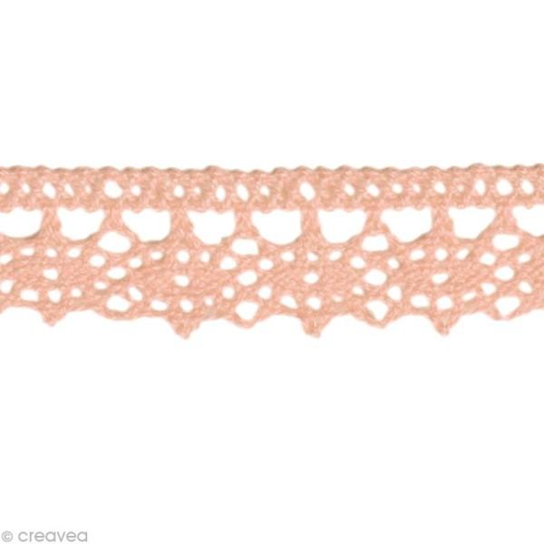 Dentelle coton fantaisie 1,3 cm - Rose clair au mètre (sur mesure) - Photo n°1